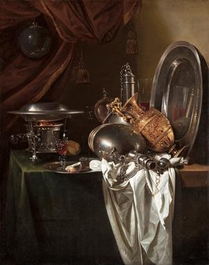 Still Life with a chafing dish, pilgrim's canteens and a silver-gilt ewer on a partially draped table