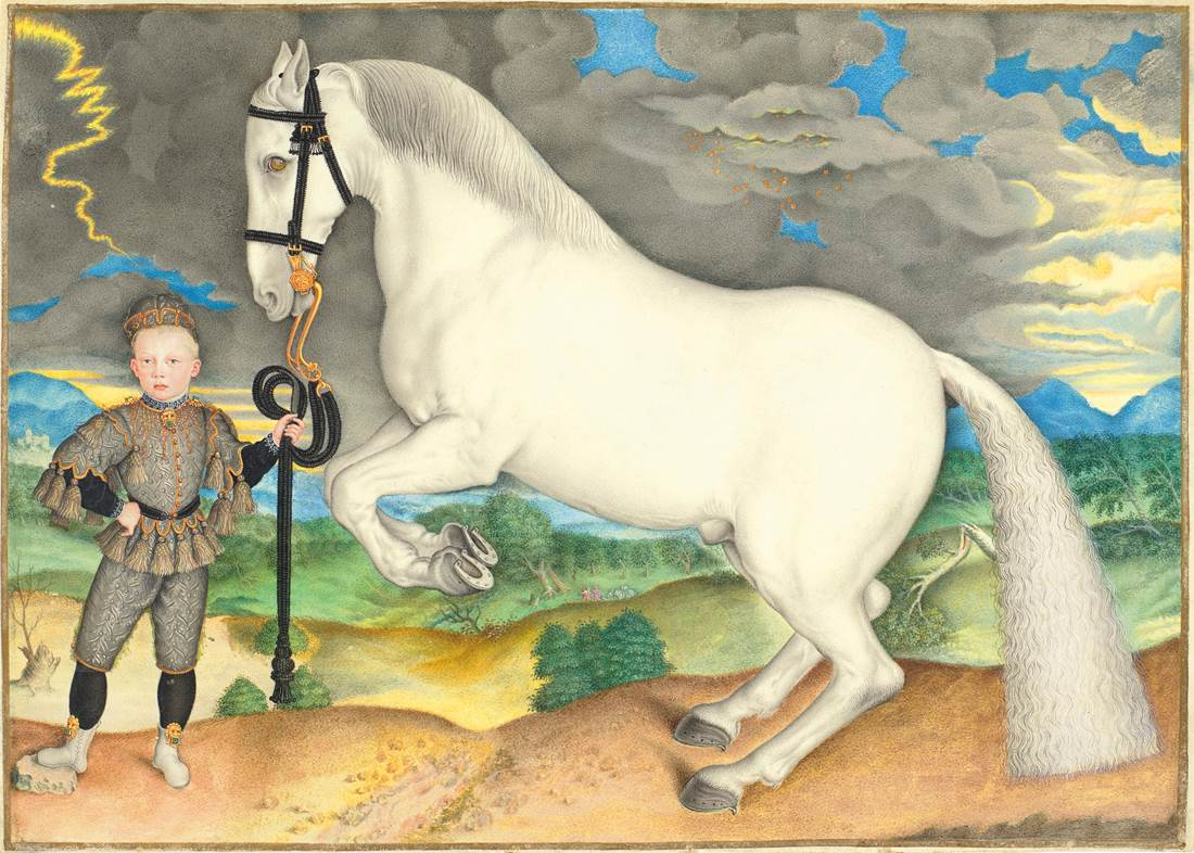 A Rearing White Horse Held by a Boy