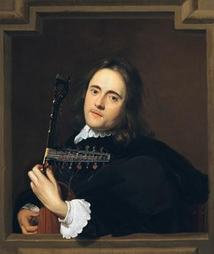 A Young Man at a Stone Window Playing a Theorbo